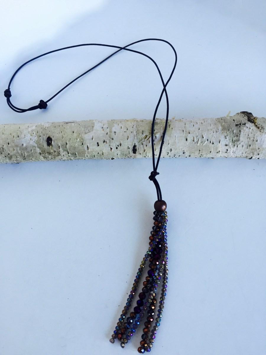 Bronze Crystal Tassel Slide Knot Leather Necklace
