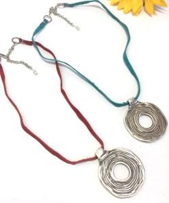 Round Tribal Medallion Statement Necklace