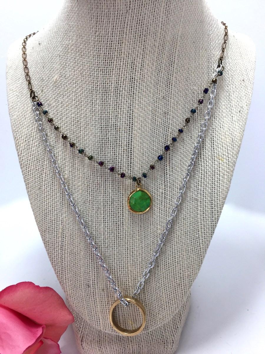 Bezel Set Green Turquoise Howlite Ring Necklace