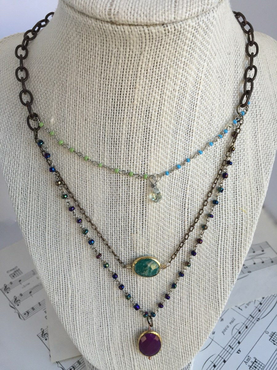 three strand amazonite purple turquoise necklace