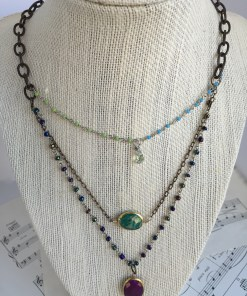 three strand amazonite purple turquoise necklace