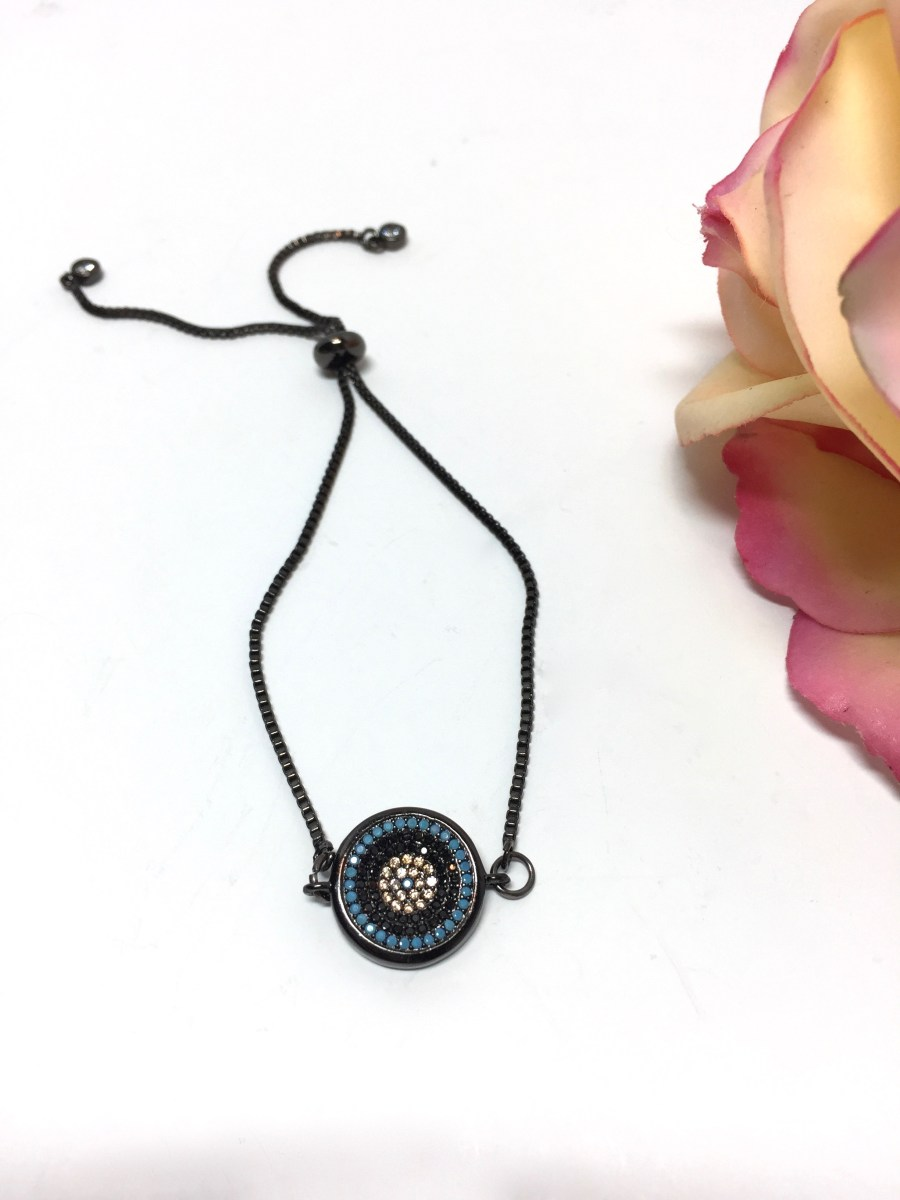 Adjustable Art Deco Round Turquoise Charm Bracelet