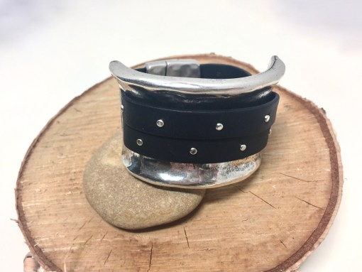 Wide Silver Studded Black Leather Magnetic Clasp Cuff Bracelet