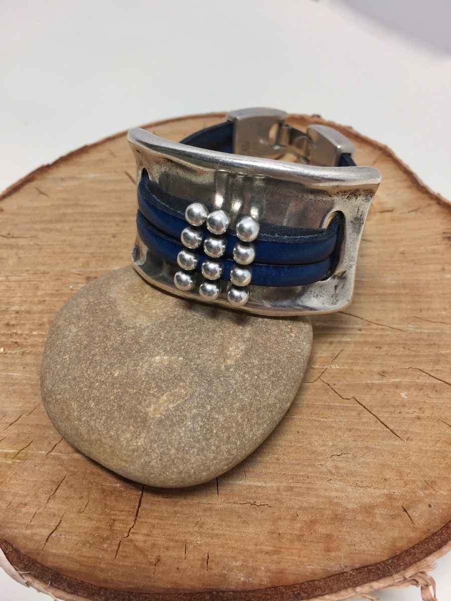 Blue Leather Floating Beads Silver Cuff Bracelet