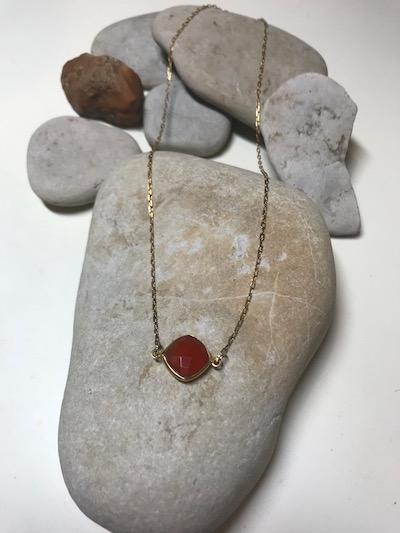 Bezel Set Carnelian Gold Plated Necklace
