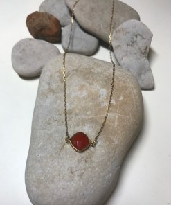 Bezel Set Carnelian Gold Plated Necklace