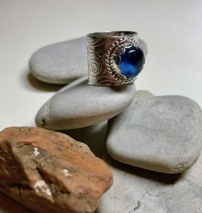 Wide Textured Tanzanite Blue Quartz Cabochon Sterling Silver Ring