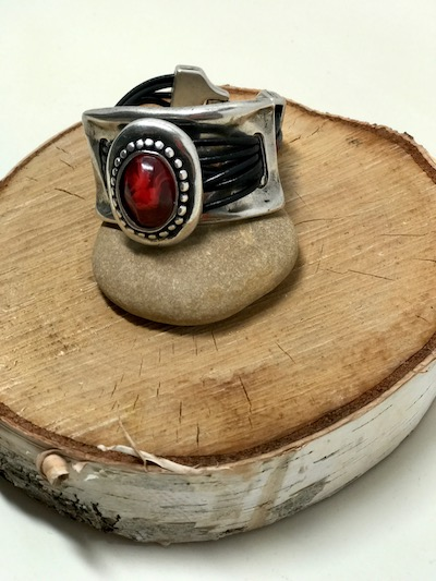 Large Red Medallion Leather Magnetic Clasp Bracelet