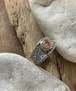Silver Band Ring with Champagne CZ