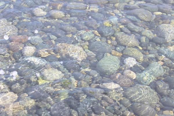 Light Water over rocks