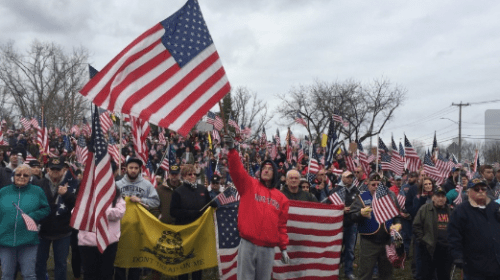 Hundreds Gather at Hampshire College to Protest U.S. Flag's Removal