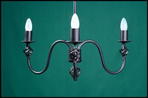 Ingrid 3 Arm Onion Under Cup Wrought Iron Chandelier