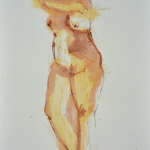 Sienna Gesture (caran d'ache on watercolor paper)