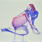 Blue Gesture (caran d'ache on watercolor paper)