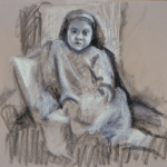 Study for Portrait of a Girl (pastel on canson paper)