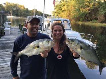 nephew & nephew's girlfriend with large bluefish