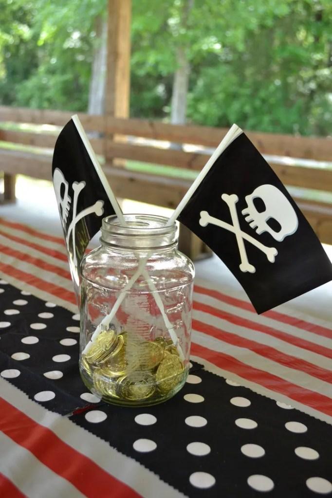 Mason Jar pirate centerpiece