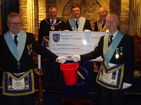 Dave-Blackhurst-Lodge-Secretary;-George-Mann-APGM;-Simon-Hay-Master;-Raul-Richards-Festival-Chairman;-Dave-Firth-lodge-Charity-Representative