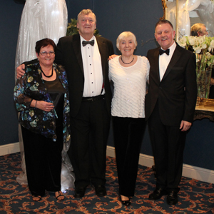Left to right : Mrs Sue Tyler, W.Bro.Peter Morley (WM) , Mrs Anne Morley and Bro. Chales Tyler (Master Elect)