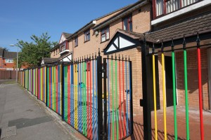 Multi coloured railings painted by Community Service offenders