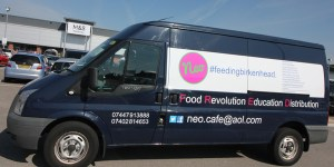 The Van outside M&S Foodstore on a Food Collection Mission