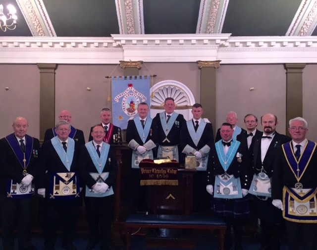 Pictured are WBro. Alec Morrin (Master of Prince Llewelyn) centre, WBro Ian Dallinger (Master St. Nicholas Lodge) with Bro Mark Knowles JW, St. Nicholas Lodge and Bro Malcolm Dewdney SW St. Nicholas Lodge) front right