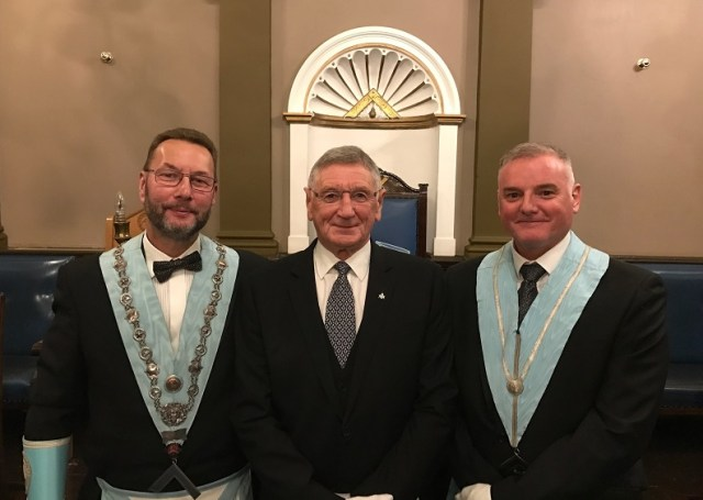 WM WBro Steve Taylor, Bro Alan Irving, WBro Kieth Irving