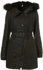 Topshop Dark Khaki Faux Fur Hood Waxed Parka £98