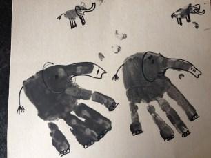 Herd of hand print Elephants