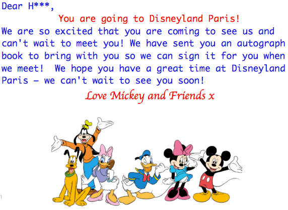 Disneyland Paris Holiday Reveal Letter for Boys