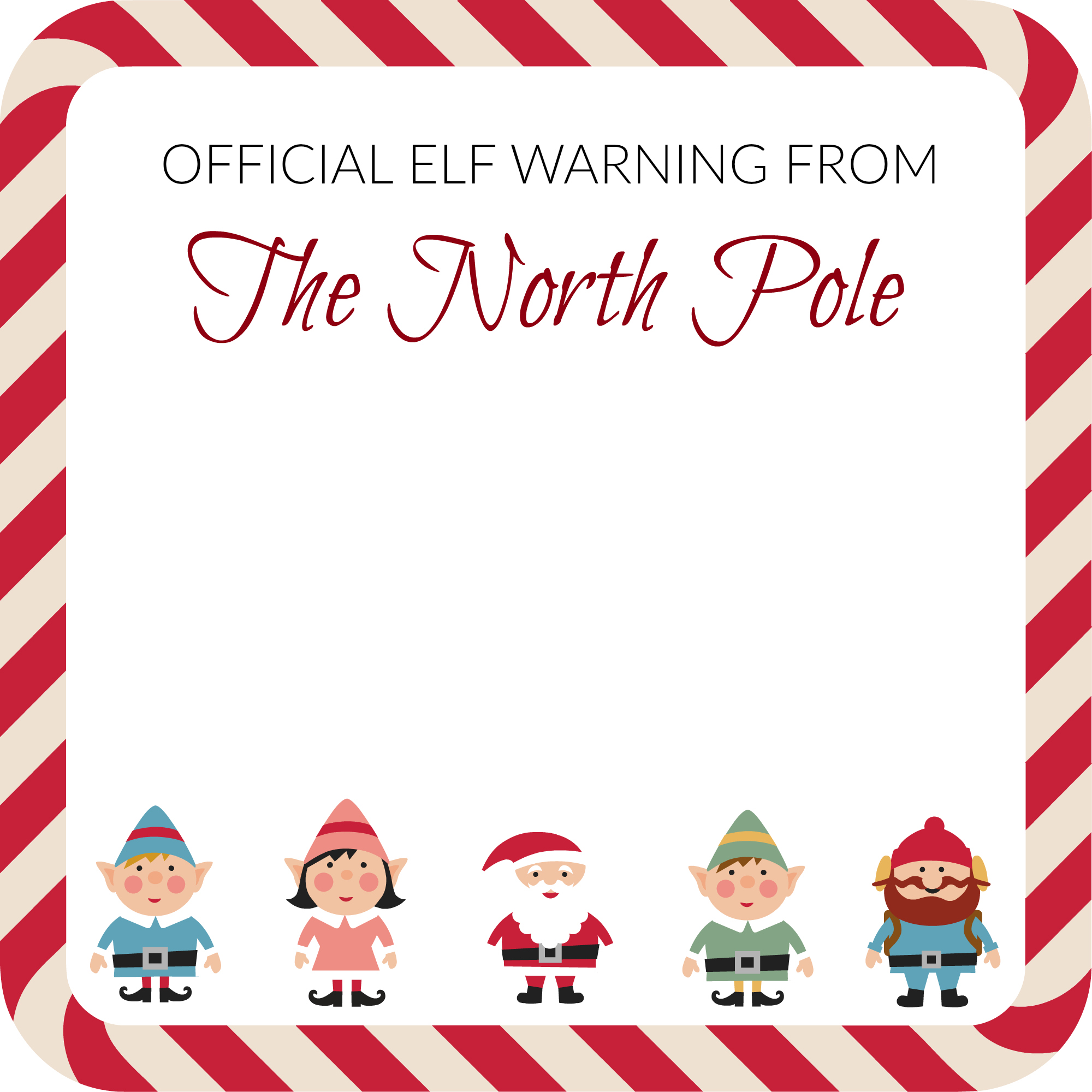 elf on the shelf elf warning note template notes to self