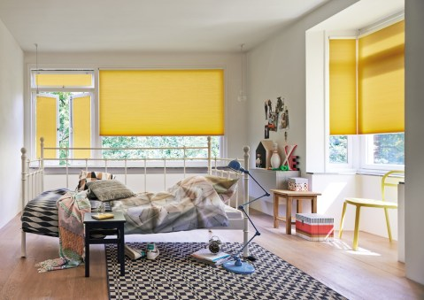 Duette energy saving blinds yellow bedroom 3
