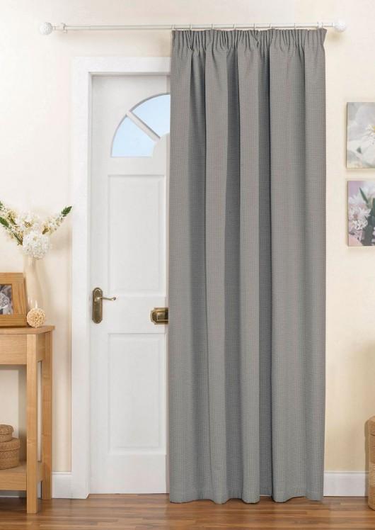 Kent Thermal Blackout Door Curtain Silver Pencil Pleat