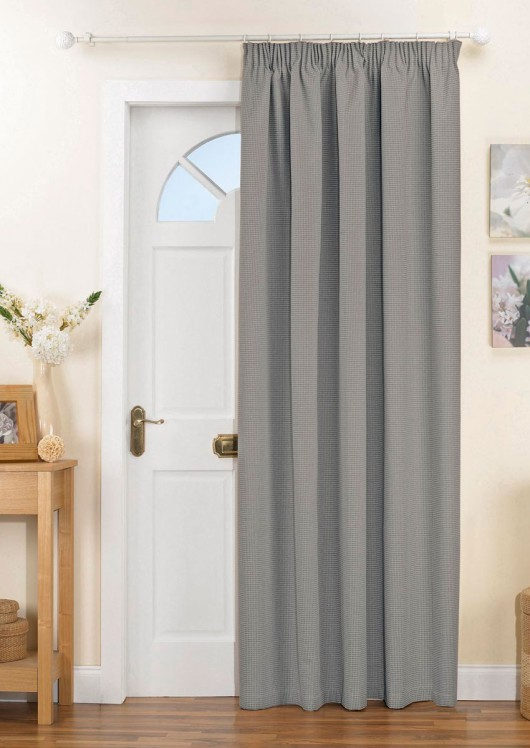 Kent Thermal Blackout Door Curtain Silver Pencil Pleat