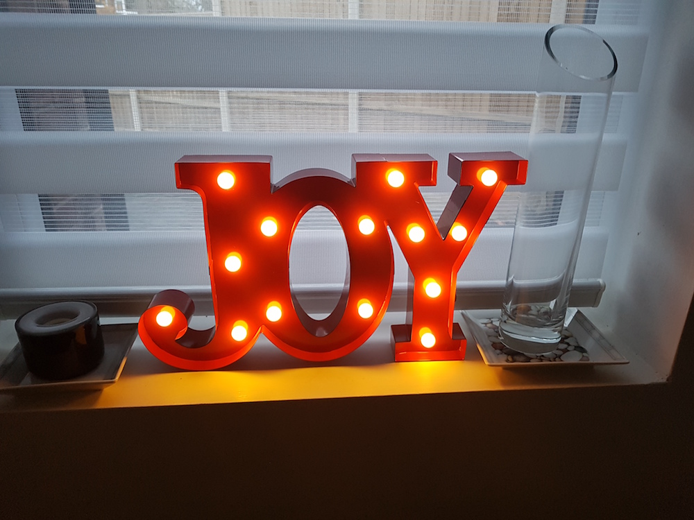 Light Up Red Joy Sign Wilko