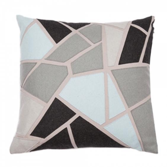Cult Living Geometric Applique Felt Patch Cushion, Blue