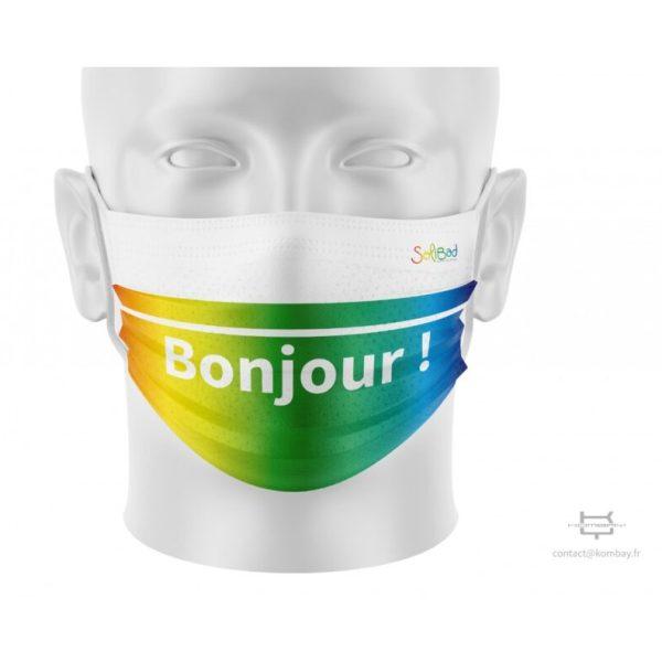 Solibad mondmasker - niet medisch - grijs, blauw en regenboog