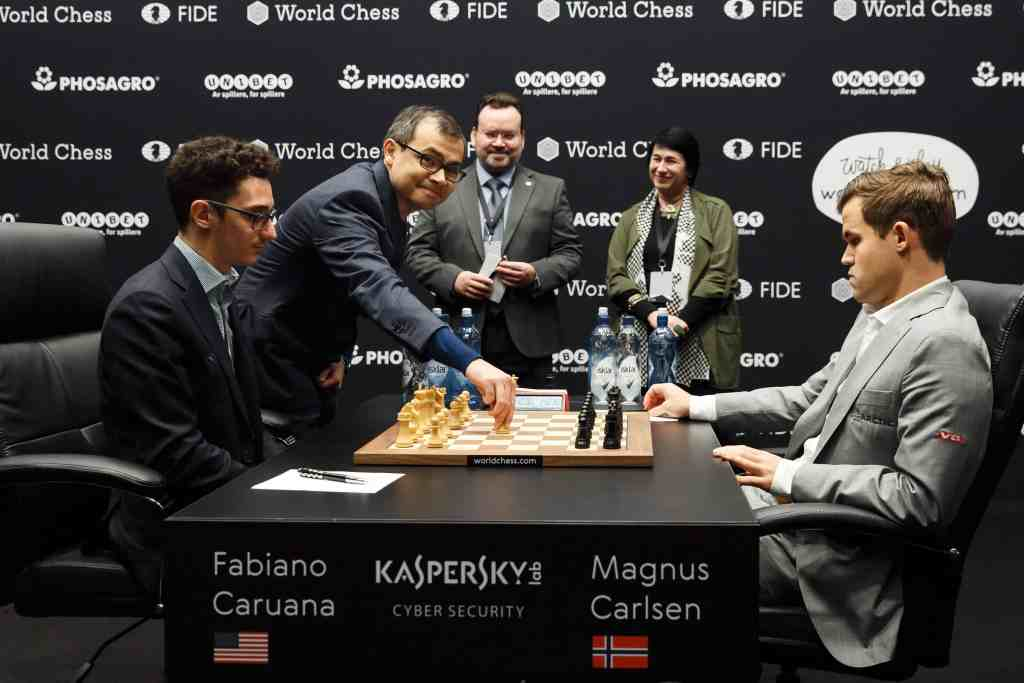 Game Changer: The man behind AlphaZero, Demis Hassabis, making the ceremonial first move in Round 8