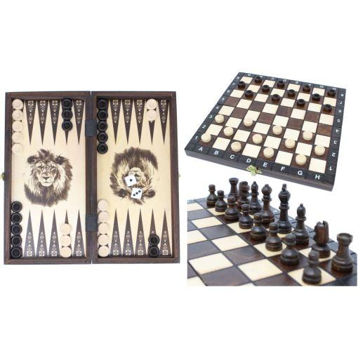 木製ゲームセット チェス/バックギャモン/チェッカー 27cm 1