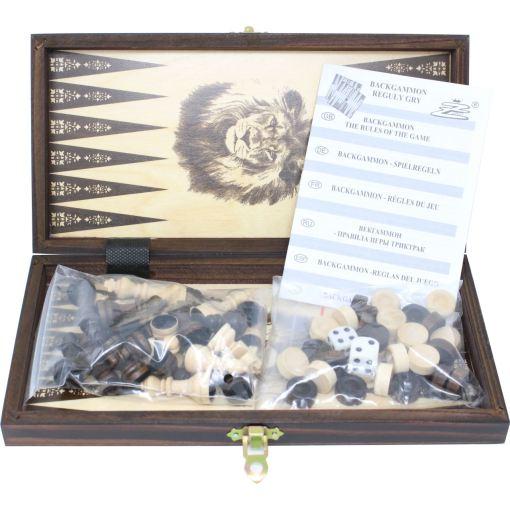 木製ゲームセット チェス/バックギャモン/チェッカー 27cm 2