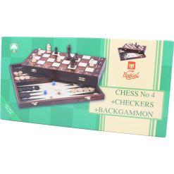 Wegiel 木製ゲームセット チェス/バックギャモン/チェッカー 41cm 21