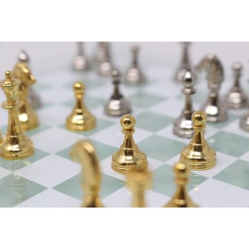 Italfama ガラス製チェスセット 金属製チェス駒 16