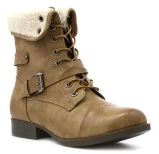 Lilley women's tan turn collar ankle boot