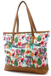 Multi Coloured Tropical Print Beach Bag and Purse