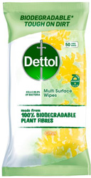 Dettol Multi Purpose Biodegradable 50 Wipes