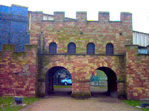 A reconstruction of a Roman Fortess Gateway at Castlefields, Manchester