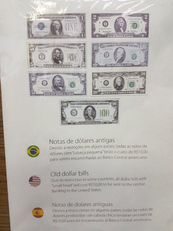 billete dólar cabeza chica