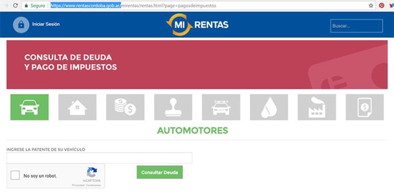 Comprobante de pago - Rentas Córdoba