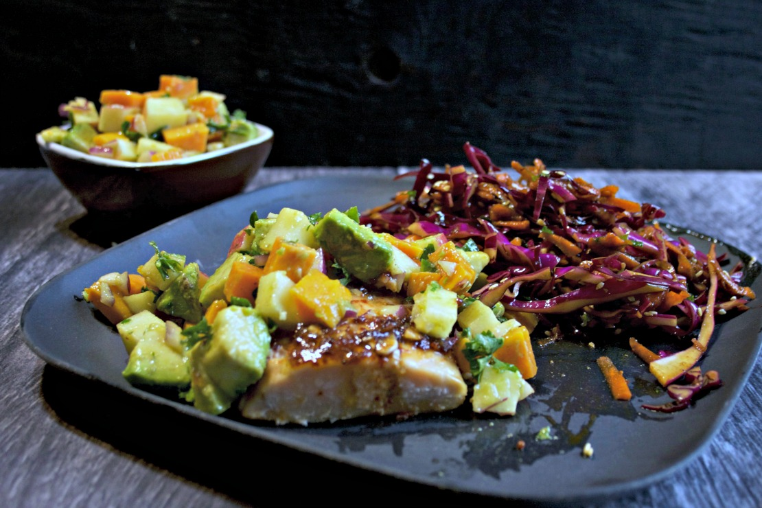 Chipotle Salmon with Avocado, Apple, Yam Salsa