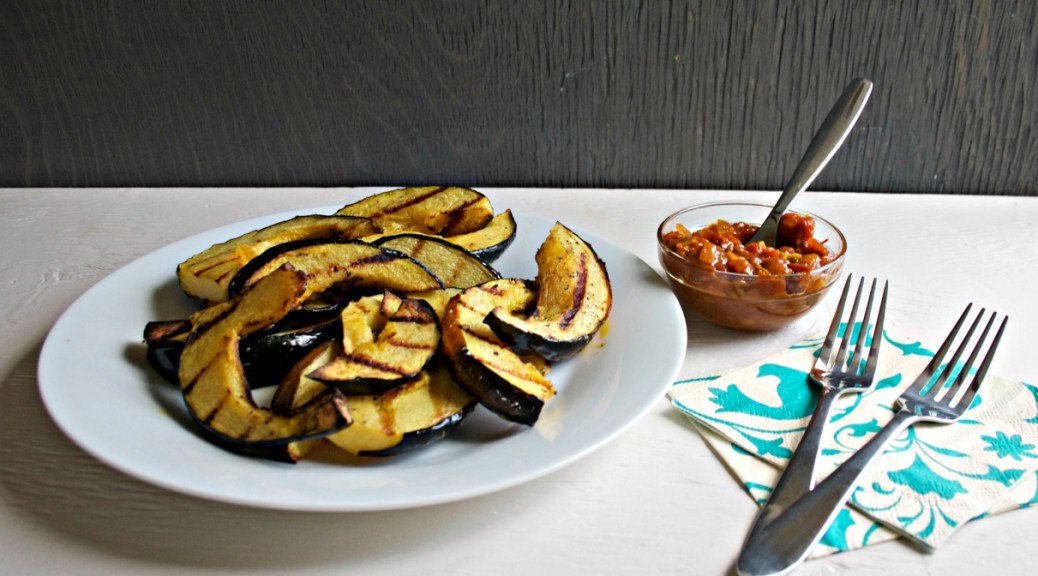 Grilled Acorn Squash with Tomato Curry Chutney